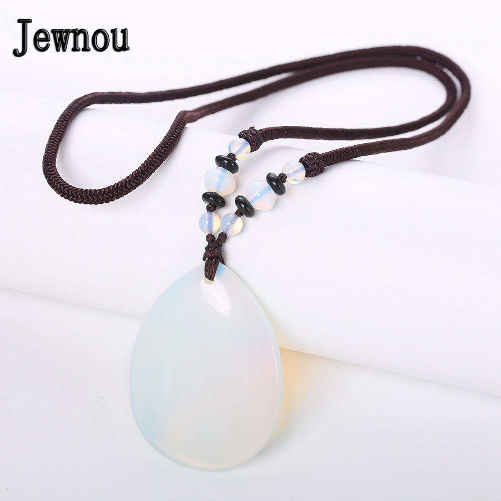Jewnou Opal Necklace Natural Crystal Water Drip Pendant Fashion Lady Braided Chain Reiki Luxurious Gemstone Jewelry BohemiaJewnou Opal Necklace Natural Crystal Water Drip Pendant Fashion Lady Braided Chain Reiki Luxurious Gemstone Jewelry Bohemia
