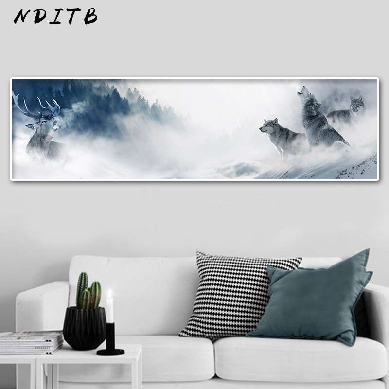 NDITB Wolf Snow Mountain Canvas Poster Landscape Wall Art Print Long Banner Painting Nature Nordic Decoration Picture