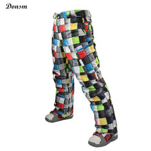 New brand colorful Grid winter warm thick waterproof windproof ski pants men oudoor sports snowboard skiing clothing