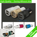 For iPhone 5 5G 5S 5C 4 4G 4S for iPod Touch 5 Mini Aluminum Universal 12V 2.1A Dual Usb Car Charger Adapter Cable