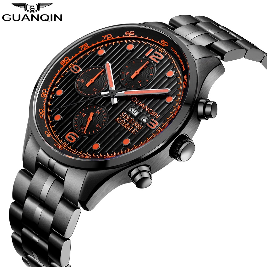 GUANQIN Automatic Watch Men Calendar Date Luminous Mechanical Watches Black Men Watch Full Steel Luxury Brand Wristwatches binkada men watch automatic mechanical full steel watches date calendar water resistant watch