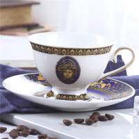 European Bone China Coffee Cup And Saucer Set Royal Luxury Handmade Black Tea Cups Gold Drawing Porcelain Teacup Free Shipping