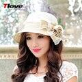 2016 nova primavera verão palha chapéu de sol Ladies Curling sol praia chapéu coreano Cap sol feminino flores chapéu do verão B-3144