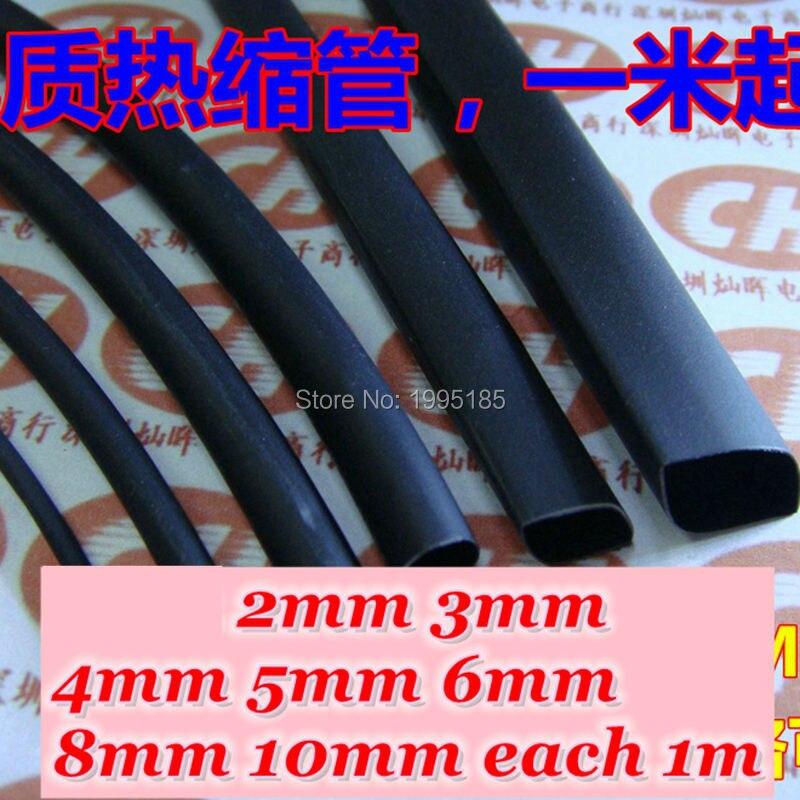 1pc 2m Black 2:1 Heatshrink Tube Tubing Sleeving Heat Shrink 2//4//6//8//10mm Hot