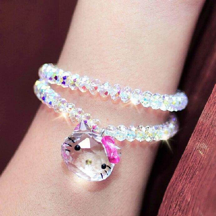 USTYLE véritable 925 argent Sterling cristal autrichien belle chat Hello Kitty Bracelets et Bracelets bijoux de mode pour les femmes YB0001