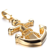 Mens Stainless Steel Pendant Necklace, Gold, Anchor KR172