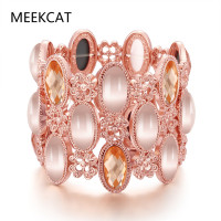 Rose Gold Color Opal Bracelet And Bangle Elastic Big Bracelet Jewelry Big Rhinestone For Women Acrylic