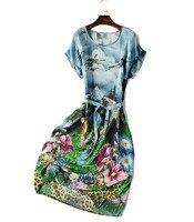Bat Sleeve Round necked Silk Dress Long Size Summer Women's A shaped Dress Silk Dress Crepe 2019