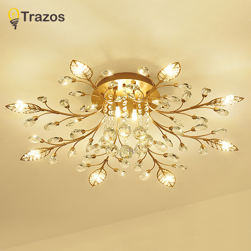 TRAZOS New item fancy ceiling light LED Crystal ceiling lamp modern lamps for living room lights,AC110-240V DIY Crystal lighting modern multicolour crystal ceiling lights for living room luminarias led crystal ceiling lamp fixtures for bedroom e14 lighting