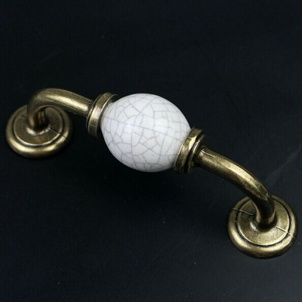87mm white crack ceramic Kitchen Cabinet handle bronze cupboard Pull antique brass wardrobe dresser furniture handles