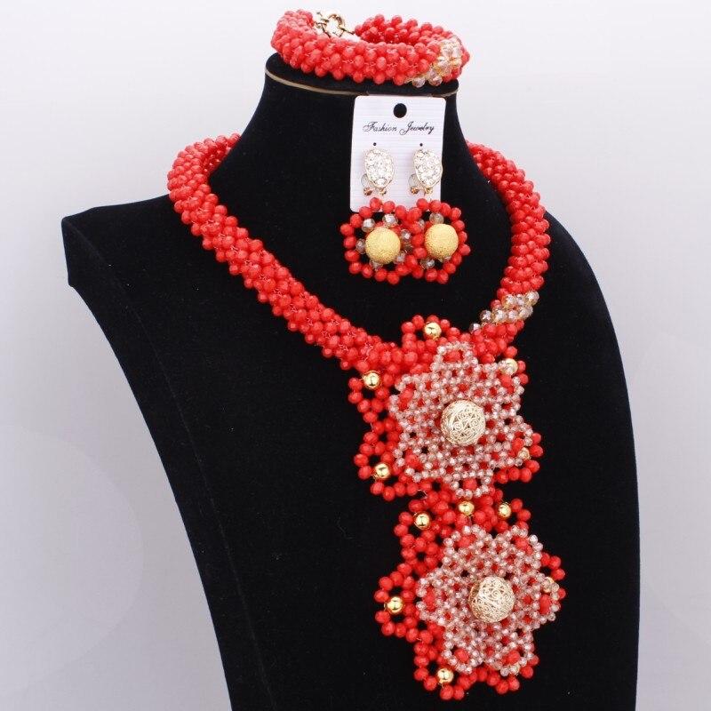 Dudo perlé nigérian bijoux de mariée éthique collier ensemble cristal grandes fleurs Costume Choker bijoux africains ensemble livraison gratuite
