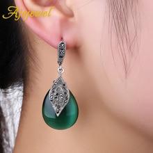 Stylish Vintage Jewelry Sets Green Opal Earrings Necklace Set