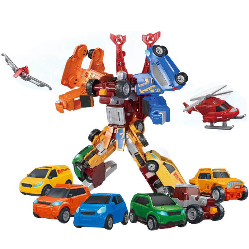 Tobot 7 In 1 Transformation Robot Toy 7 Cars Merge Deformation Magma6 Anime Tobot Character Action Figure Model Childs Toys Gift