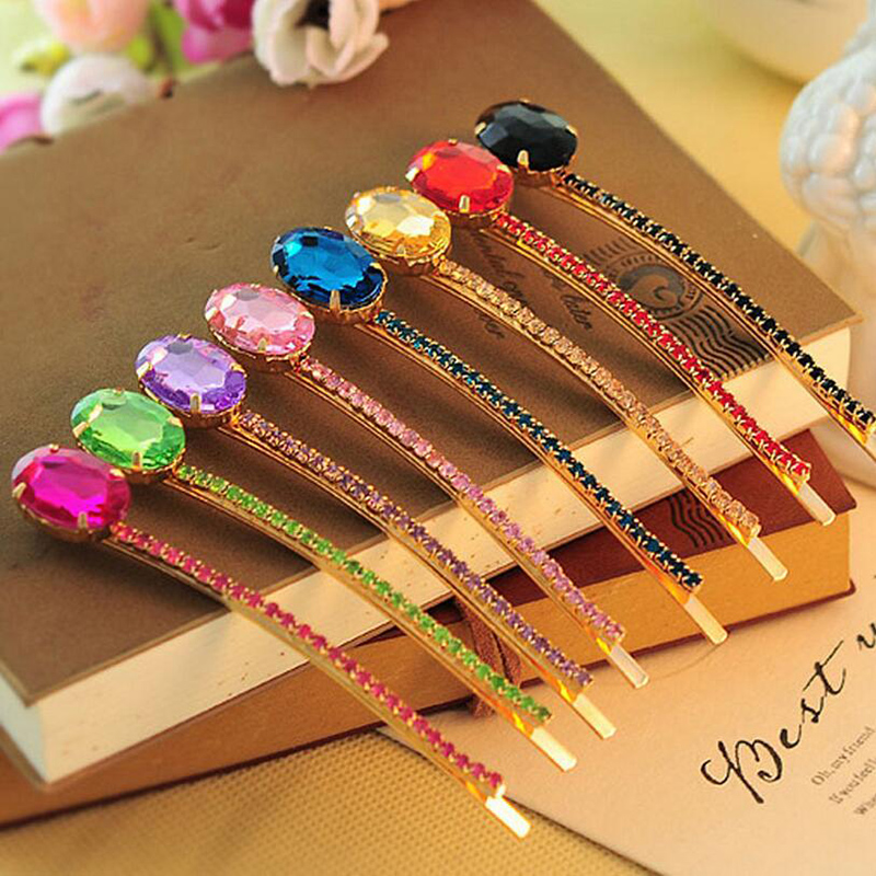 5pcs/lot Trendy Red Hair Pin Rose Gold New Fashion Korea Hair Accessories Rhinestone Acrylic Gem Barrettes for Women Hair Clips