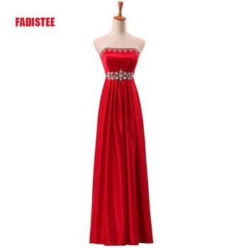 FADISTEE New arrival elegant long dress evening party satin A-line pleat vestido de noiva formal zipper crystal dress frock gown