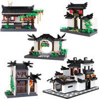 Wange compatible architecture Creator china ancient times Chinoiserie building Kit bricks villa