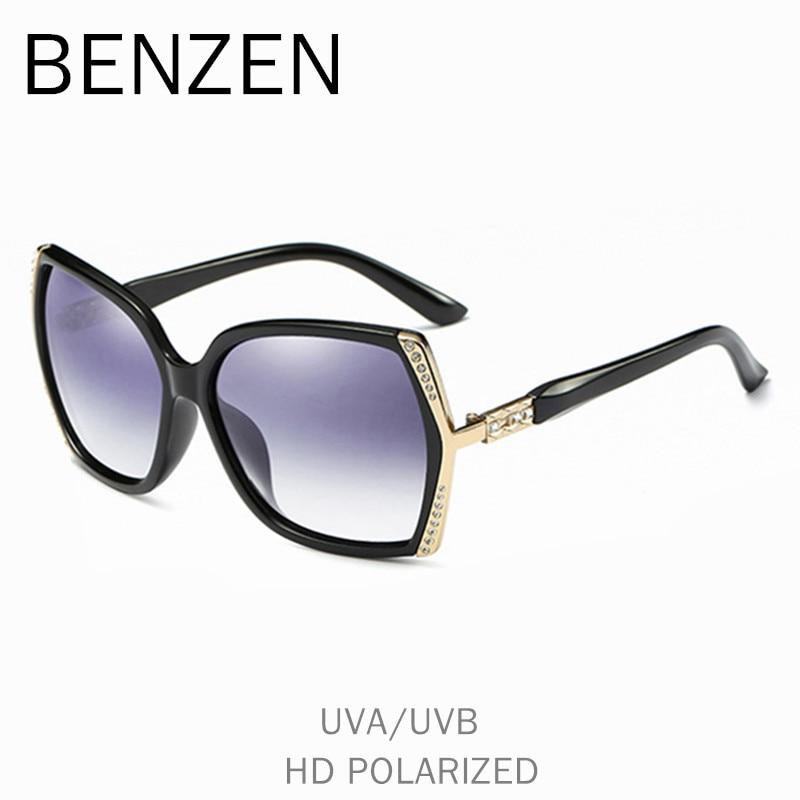 BENZÈNE Polarisées lunettes de Soleil Femmes De Luxe Strass Femme Soleil Lunettes Pour Conduite UV 400 Dames Nuances Avec Le Cas 6570