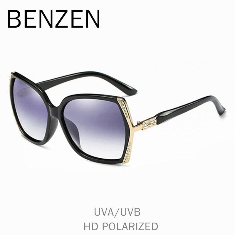 BENZÈNE Polarisées lunettes de Soleil Femmes De Luxe Strass Femme Soleil lunettes de conduite UV 400 Dames Nuances Avec Le Cas 6570