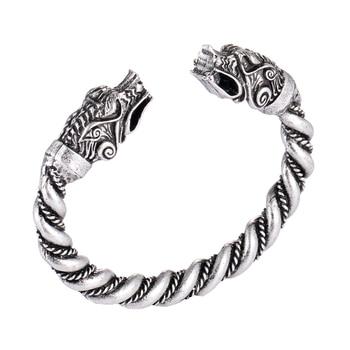 1 pc fait main Norse Viking Ferir père des loups Bracelets 3.5 oz hommes bras anneaux bijoux Antique argent Chunky torsion Bracelets 7