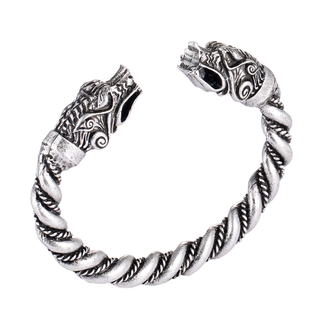 1 pc fait main Norse Viking Ferir père des loups Bracelets 3.5 oz hommes bras anneaux bijoux Antique argent Chunky torsion Bracelets 2