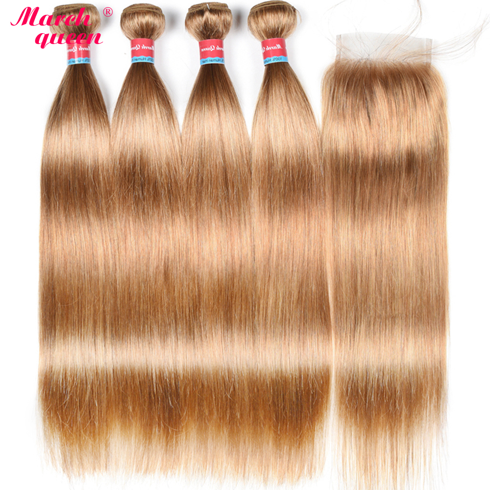 March Queen Brazilian Hair Straight 4 Bundles With 4X4 Lace Closure 27 Honey Blonde Human Hair