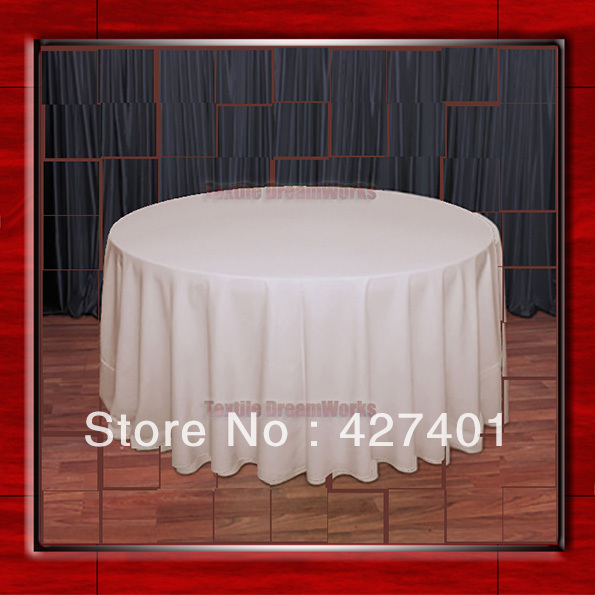 108R Beige 210GSM Polyester plain Table Cloth For Wedding Events & Party Decoration (Factory Direct Sales)