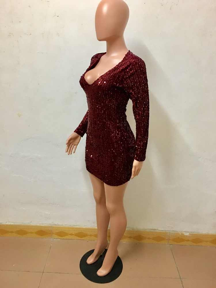 ... Sequin Dress Women 2019 Paillettes Bodycon Dress Party Sequined Dresses  Long Sleeve Club Dress Red Vestidos ... 2eb9a1c25fc7