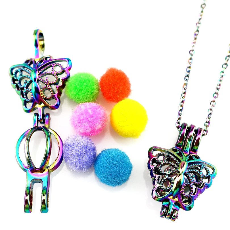 Rainbow Multi Color Butterfly Beads Cage Pendant C515 5pcs Pack