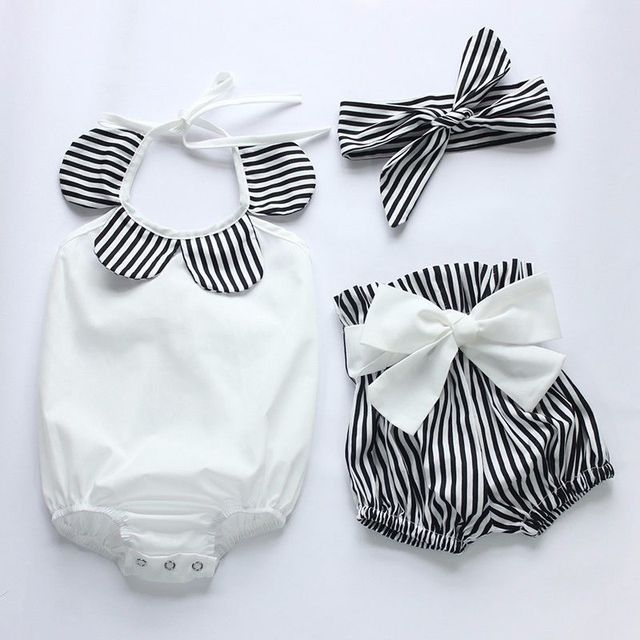 Toddler Infantil Baby Girl Romper Tops+Striped Shorts Bottoms+Head Band 3PCS Outfits Sunsuit 0-24M