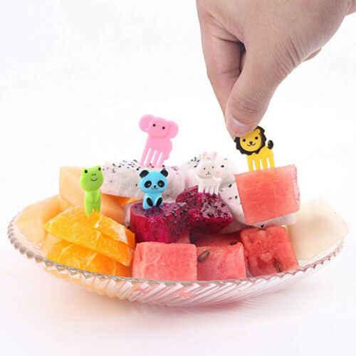 10 PCS Mini Kids Bento Bonito Animal Alimentos Picaretas Frutas Garfos Lancheira Acessório Decoração Ferramenta