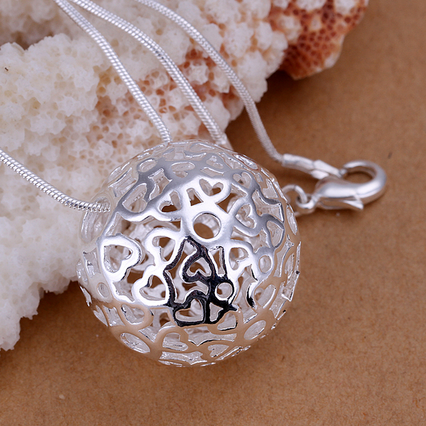 Hollow Ball pendants 925 sterling silver Women's necklaces 20'' snake chains np009 For Valentine's Day Gift