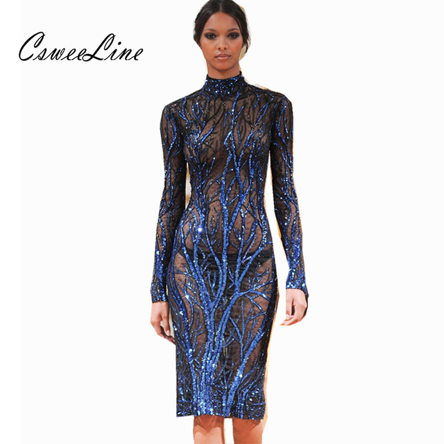 Chic Design Blue Sequin Dress Women Turtleneck Long Sleeve Nightclub Root  Sequins Mesh Dress Runway Fashion Bodycon Dresses 2018 612f30dbb