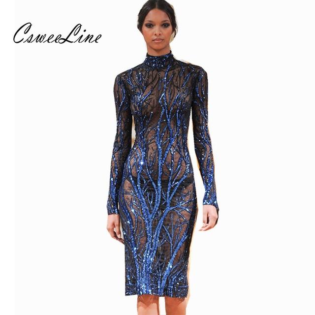 6b59e166 Chic Design Blue Sequin Dress Women Turtleneck Long Sleeve Nightclub Root  Sequins Mesh Dress Runway Fashion Bodycon Dresses 2018