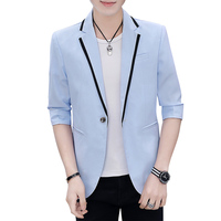 2019 Mens Korean Slim Fit Dress Fashion Blazer Suit Jacket Male Summer Three Quarter Blazers Men Coat Banquet Wedding Dress 3XL