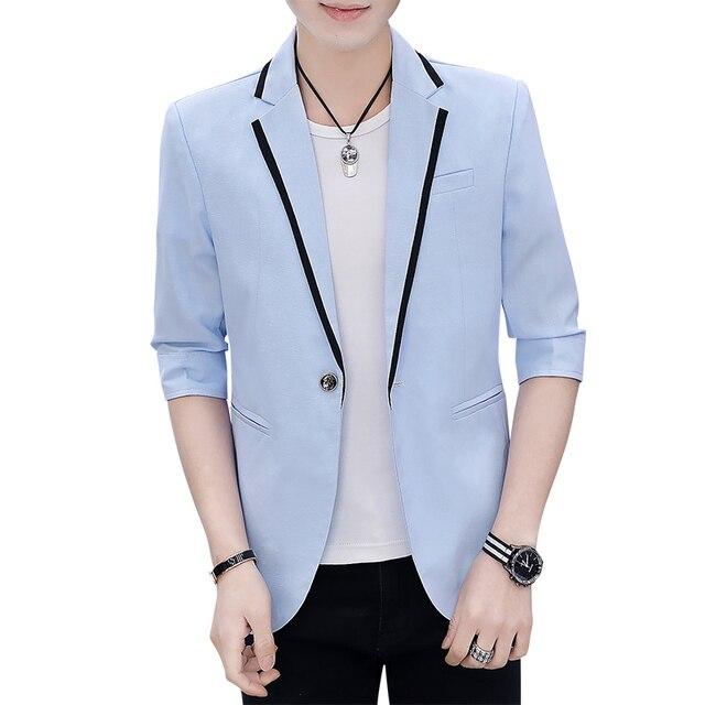 2019 para hombre coreano ajustado Fit vestido moda Blazer traje Chaqueta  Hombre verano tres cuartos Blazers hombres abrigo banquete de boda 3XL