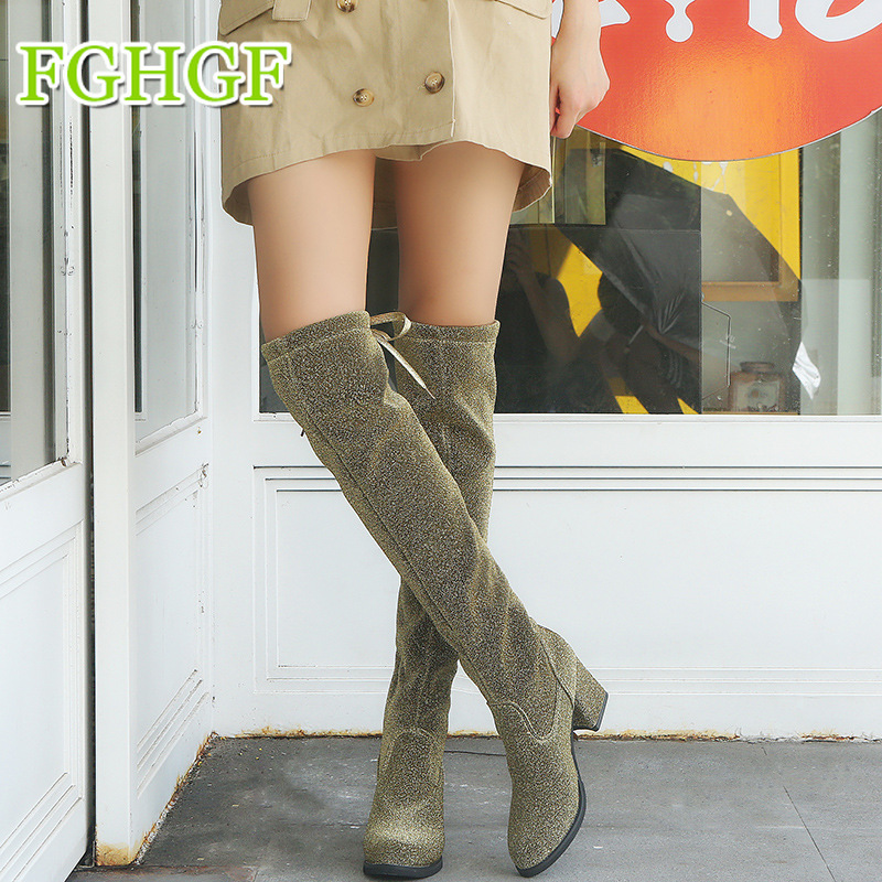 2019 New Flock Leather Women Over The Knee Boots Lace Up Sexy High Heels Women Shoes Lace Up Winter Boots Warm Size 35-42