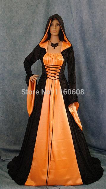 Gothic Vampire Medieval Renaissance Halloween Hooded Dress