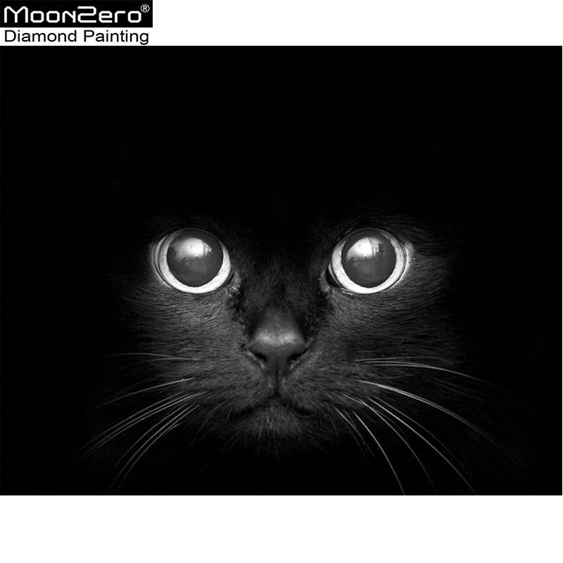 Új négyzet / kör Diy Diamond fekete macska kereszt öltés gyanta - Művészet, kézművesség és varrás