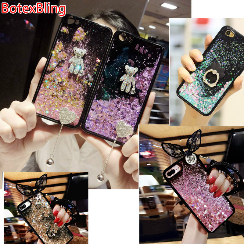 BotexBling Cute bear liquid quicksand <font><b>case</b></font> for <font><b>VIVO</b></font> X20 Plus Y66 Y51 Y55 Y29 Y75 Y53 <font><b>V3Max</b></font> X20plus Lace ear bracket cover image