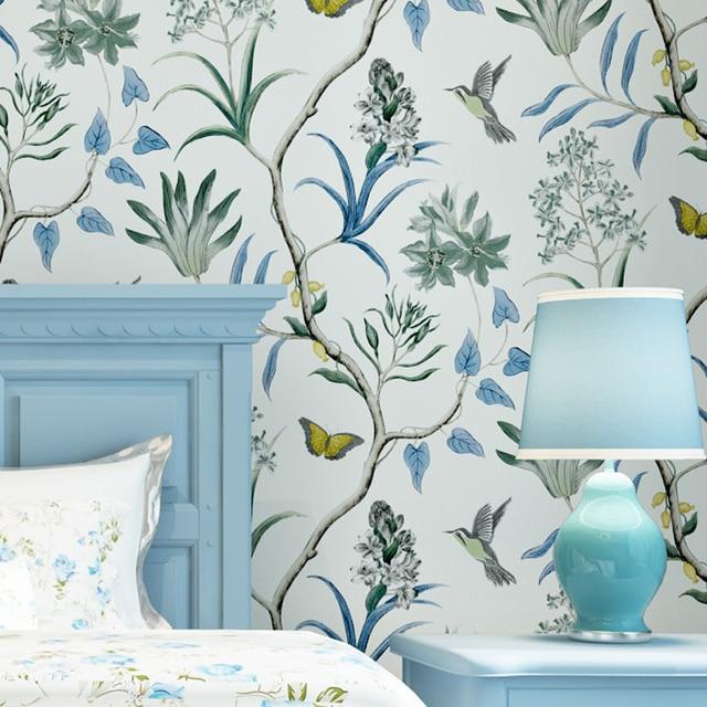 Amerikanischen Land Stil Tapeten Floral Vogel Vintage Non Woven Tapeten Papel De Parede Elegante Mural Wandpapierrolle