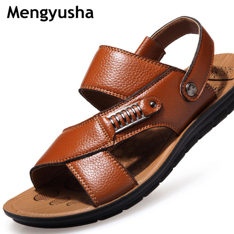 Mengyusha Summer Men Leather Slides Sandals Shoes Luxury Brand Classical Male Italian Formalbeach Designer Sandals For Men