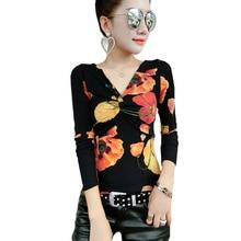 Shintimes Vetement Femme 2018 Autumn Casual T-shirt Women Sexy V Neck T Shirts Kawaii Long Sleeve Print Tshirt Ladies Tops