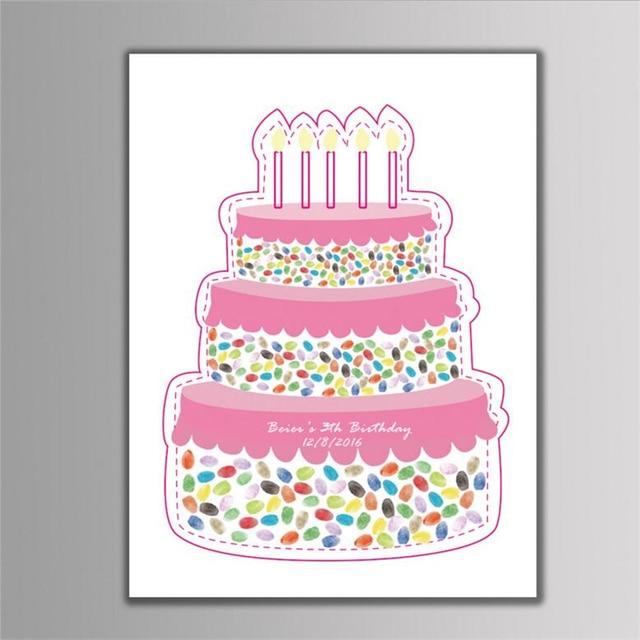 1pc Personalized Custom Cake Fingerprint Tree Painting Diy Baby