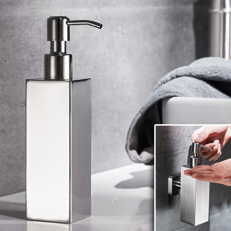 Contemporary Simple 304 Stainless Steel Soap Dispenser Silver Press