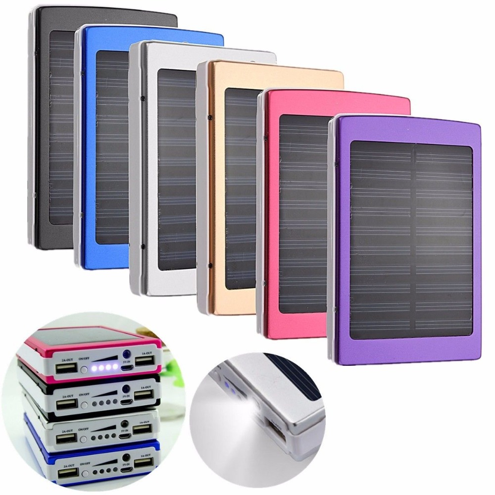 50000mAh Dual USB Solar External Power Bank Battery Charger For Phone Tablet