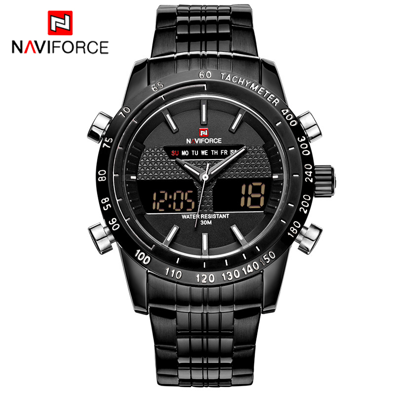 Full Steel Men Military Sports Watches Men's Quartz Analog Multi-Function Clock Male Waterproof Wristwatches