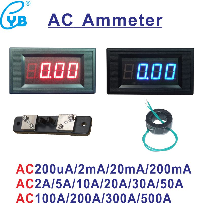 The Best Ac Ammeter 50a Include Transformer 50a Ac Current Meter Led Display Red Blue With A Cover Ac Ampere Panel Meter Ac Amperemetre High Quality Materials Measurement & Analysis Instruments Electrical Instruments