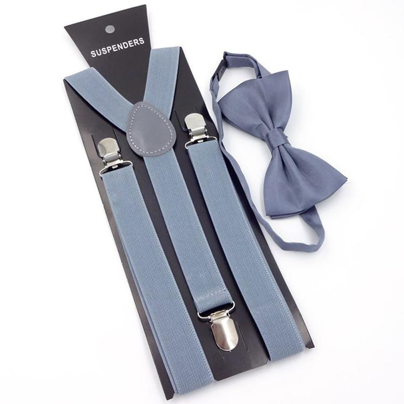 Adult 3 Clip-on Y Back Elastic Suspenders Bowties Set Suspender Braces Neck Ties Brace Belt Strap For Women Man