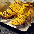 Sexy Correas Sandalias de Las Mujeres Volver Zip Zapatos de Verano Mujer Ahueca Hacia Fuera Gladiador Thin Tacones Altos Mujeres Bombas Zapatos De Vestido de Novia
