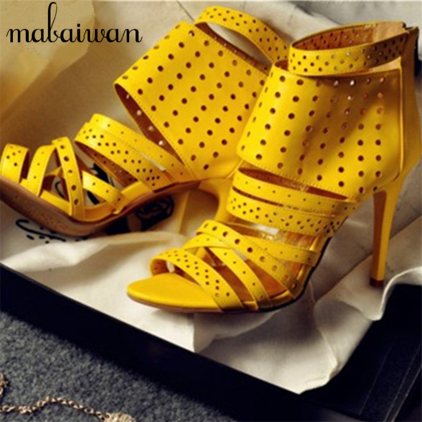 ФОТО Sexy Straps Women Sandals Back Zip Summer Shoes Woman Hollow Out Gladiator Thin High Heels Women Pumps Wedding Dress Shoe